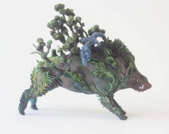 Figure boar with a crow,boar figurine,boar statuette