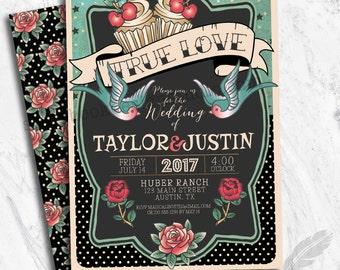Rockabilly Wedding Invitations, digital file, prints, tattoo, rockabilly, pinup, sparrows, roses, polkadots