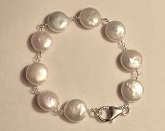 Freshwater Coin Pearl Sterling Silver Bracelet