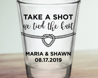 "Custom Personalized ""Tied The Knot"" Wedding Favor Shot Glasses"