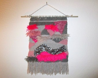 Pink + Silver Woven Wall Hanging - Modern Weaving - Abstract Wall Art