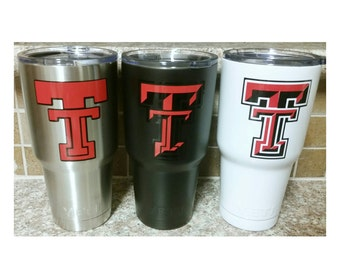 YETI - Authentic - TEXAS TECH Red Raiders Yeti Cup 30oz Rambler Tumbler Texas Tech Yeti, Tech Yeti 30 oz Powder Coated Black White Stainless