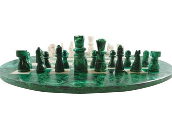 Malachite And Marble Handcarved Chess Set