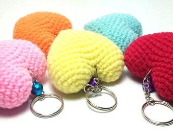 Heart Handmade Crochet Set (5 Colors), Key Chain for Handbag or Decoration