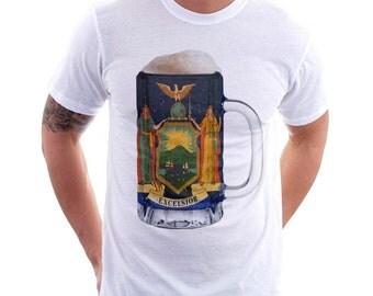 New York State Flag Beer Mug Tee, Unisex, Home State Tee, State Pride, State Flag, Beer Tee, Beer T-Shirt, Beer Thinkers, Beer Lovers Tee