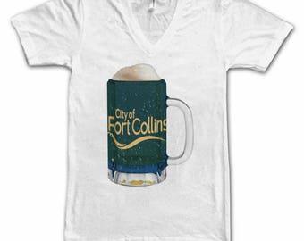 Ladies Fort Collins City Flag Beer Mug Tee, Home Tee, City Pride, City Flag, Beer Tee, Beer T-Shirt, Beer Thinkers, Beer Lovers Tee, Fun Tee
