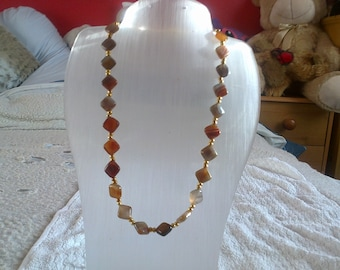 Botswana Agate Necklace with a Gold Clasp