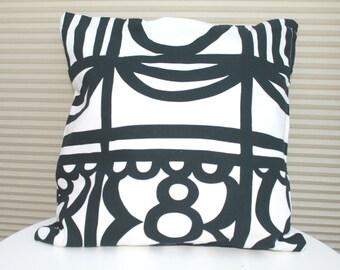 Cushion Pillow Throw Cover Black White Cotton Monochrome Living Space 40cm x 40cm Geometric Print