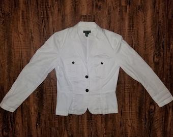 Vintage White Lauren Jeans Company by Ralph Lauren Womans Blazer