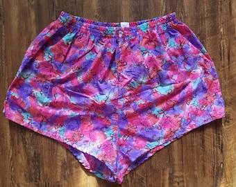 90s Womens PRO SPIRIT Floral Swim Shorts