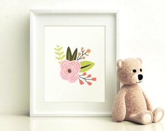 Pink and Navy Floral Printable, Nursery Print, Girls Nursery Printable, Nursery Art, Printable