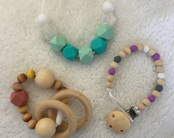 Handmade baby gift- dummy clip, rattle/teething ring, teething/sensory necklace