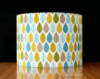 Scandinavian leaf 30cm fabric light / lampshade handmade by vivid shades, modern retro stylish geometric scandi pattern