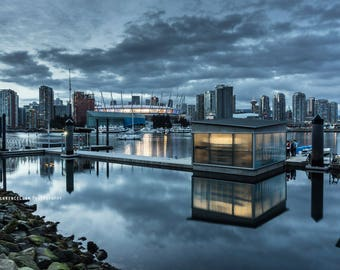 Reflection, Olympic Village Vancouver at Sunset, BC Place, Fasle Creek, water, cloud