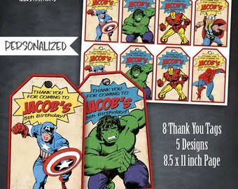 Comic Book Thank You Tags, Comic Book Tags, Superhero Tags, Party, Avengers Tags, Favor Tags, Personalized, Printables, Digital, SuperHeroes