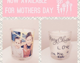 Mothers day candle with personalised message from children!