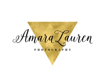 Jewelry Logo Design / Gold Triangle Logo / Gold Geometric Logo / Photography Logo / Makeup Artist Logo / Gold Logo / Gold Blog Logo Header
