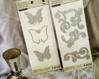 2 pk Bundle Set by Recollections : ~Butterflies & Flourishes~ Cut and Emboss Dies - Sizzix, Spellbinder, Cricut Compatible