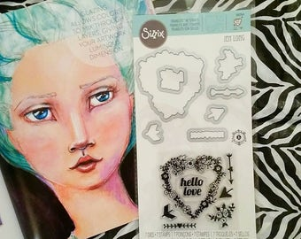 Sizzix Framelits Die Set with Coordinating Stamps by Jen Long ~Hello Love~ 560364