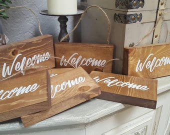 Miniature welcome sign, use in wreaths or door decor, small welcome sign, wooden hanging welcome sign, little sign, wreath decor, porch deco