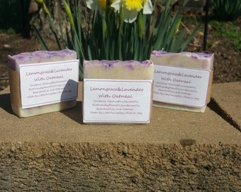 Handmade Lemongrass and Lavender With Oatmeal Bar soap