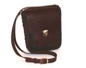 Men's Bag/Leather Bag/Crochet Bag/Crochet handbag