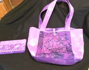 Purple Mandal Shoulder Purse with Matching Makeup Bag/Coin Purse