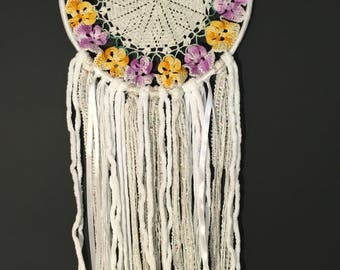 Dream Catcher with Purple and yellow floral doily.