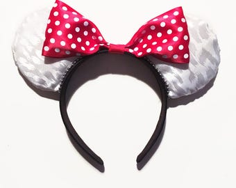 White Animal Print Minnie Ears