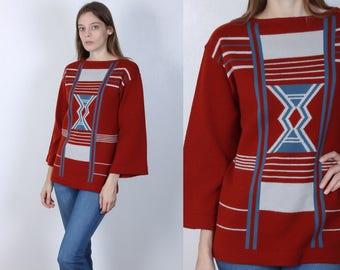 70s Boho Top // Vintage 1970s Tunic Bell Sleeve Tribal Sweater - Medium