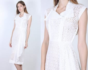 60s Eyelet Dress // Vintage Sheath Sheer White 1960s Fitted Pencil Wiggle Dress - Extra Small xs