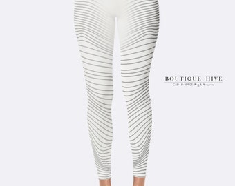Designer Leggings - WHITE-RAYS - by BouttiqueHive