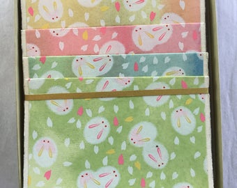 Usagi Rabbit Assortment Japanese Handmade Washi Boxed Note Card Set