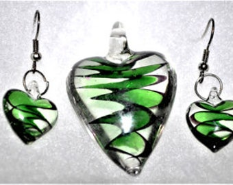 Murano Glass Heart Jewelry Set - Murano Jewelry - Murano Earrings - Glass Pendant -  Heart Earrings - FREE Shipping