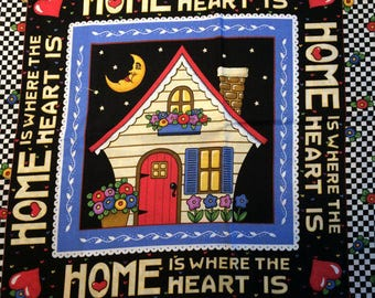 Mary Engelbreit, Fabric Panel, Home is Where, Heart, VIP 2000, Cotton Fabric