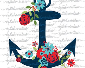 Floral Anchor, Anchor with Flowers SVG, PNG, Silhouette Design, Vinyl Design, Sailing Design, Anchor Design, Cute, Summer