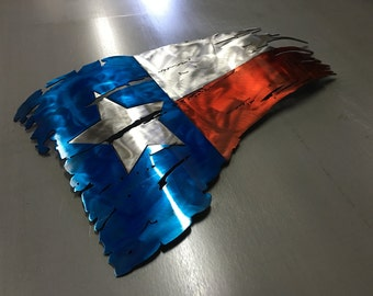 Tattered Texas flag, Texas flag wall art, Metal flag, Rustic flag, Lone Star, wall decor, metal wall art, steel flag, worn flag, battle torn