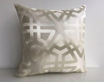 "Beige Modern Decorative Throw Pillow Cover, 16""x16"", Elegant Pillow, Modern Pillow, Neutral Pillow, Decorative Pillow, Accent Pillow, Pillow"