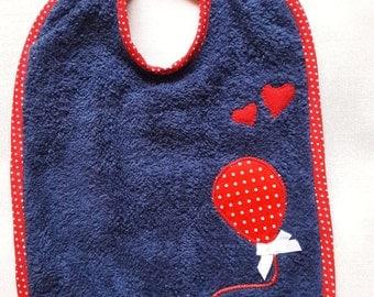 """Bib Navy Blue sponge, red """"Balloon"""" motif to white polka dots * 21 x 31 cm"""