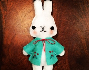 Handmade Felt Rabbit/Hand embroidered