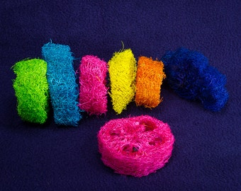 Colored Loofah Slices - Guinea Pig Hamster Bunny Rabbit Chinchilla Toy Loofa Chew Toy for Small Animals
