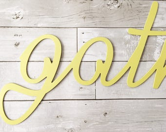 Gather Metal Sign - Metal Word Art - Metal Wall Sign - Inspire - Yellow Home Decor
