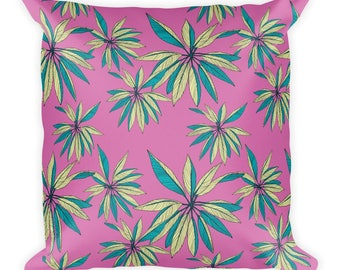 "Pink Fever Cannabis Weed Square Pillow, Throw Pillow, Funny Pillow, 18""x18"""