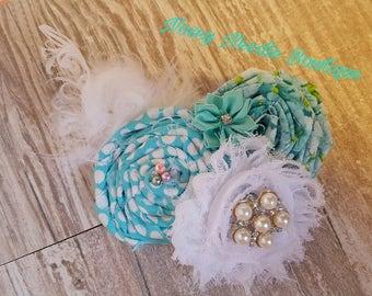 Shabby Chic rolled rosette flower hair bow, Shabby chic flower clip, Fabric hair clip, Pearl clip, Satin clip