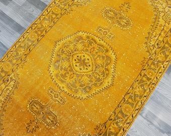 "Dark Yellow Color Rug,Vintage Anatolian Turkish Oushak RUG Size : 3'11"" x 6'9""--- 119 x 205 cm,Low Pile rug,Turkish Carpet,Office Rug"