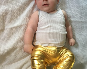 Shiny gold leggings for toddlers and babies