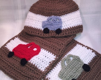 Toddler, Boys brown cars beanie and matching scarf