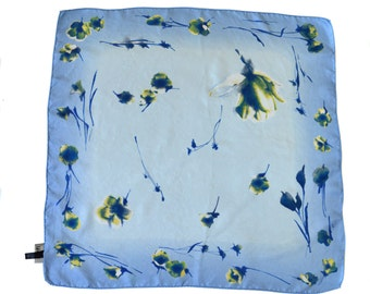 Vintage Roeckl women scarf floral blue pure silk