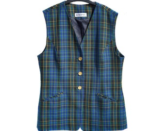 Vintage Ravens blue checked vest women size 12 virgin wool golden branded buttons
