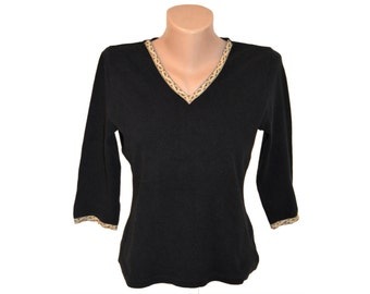 Vintage Cite ® Copenhagen women blouse black 95% cotton 5 elastane size 38/40